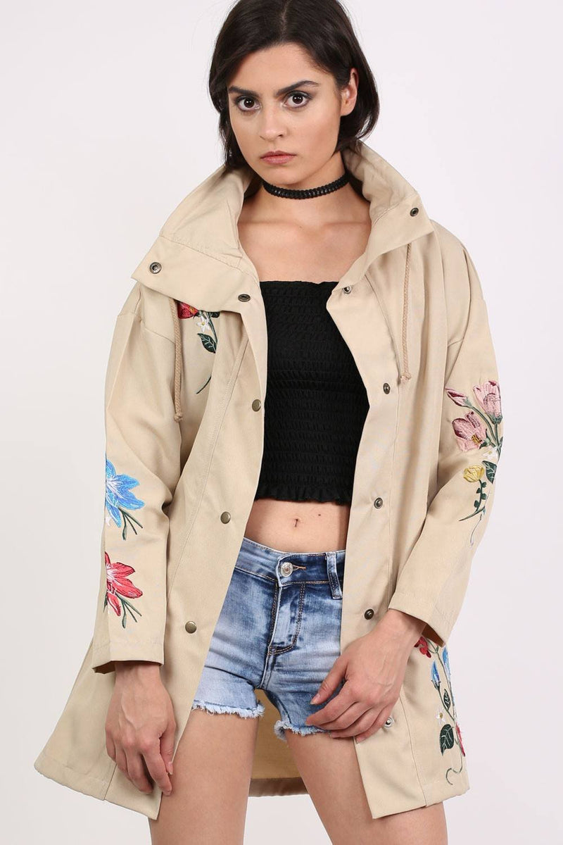 Floral Embroidered Lightweight Canvas Parka Jacket in Stone 0
