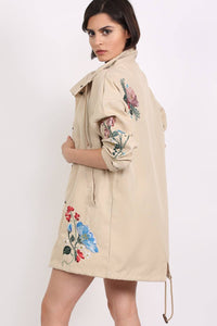 Floral Embroidered Lightweight Canvas Parka Jacket in Stone 2