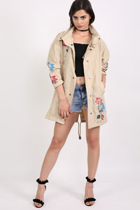 Floral Embroidered Lightweight Canvas Parka Jacket in Stone 3