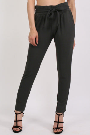 Tie Paper Bag Waist Trousers in Black 0