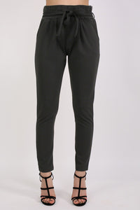 Tie Paper Bag Waist Trousers in Black 1