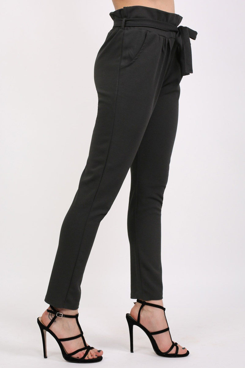 Tie Paper Bag Waist Trousers in Black 2