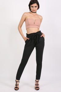 Tie Paper Bag Waist Trousers in Black 3