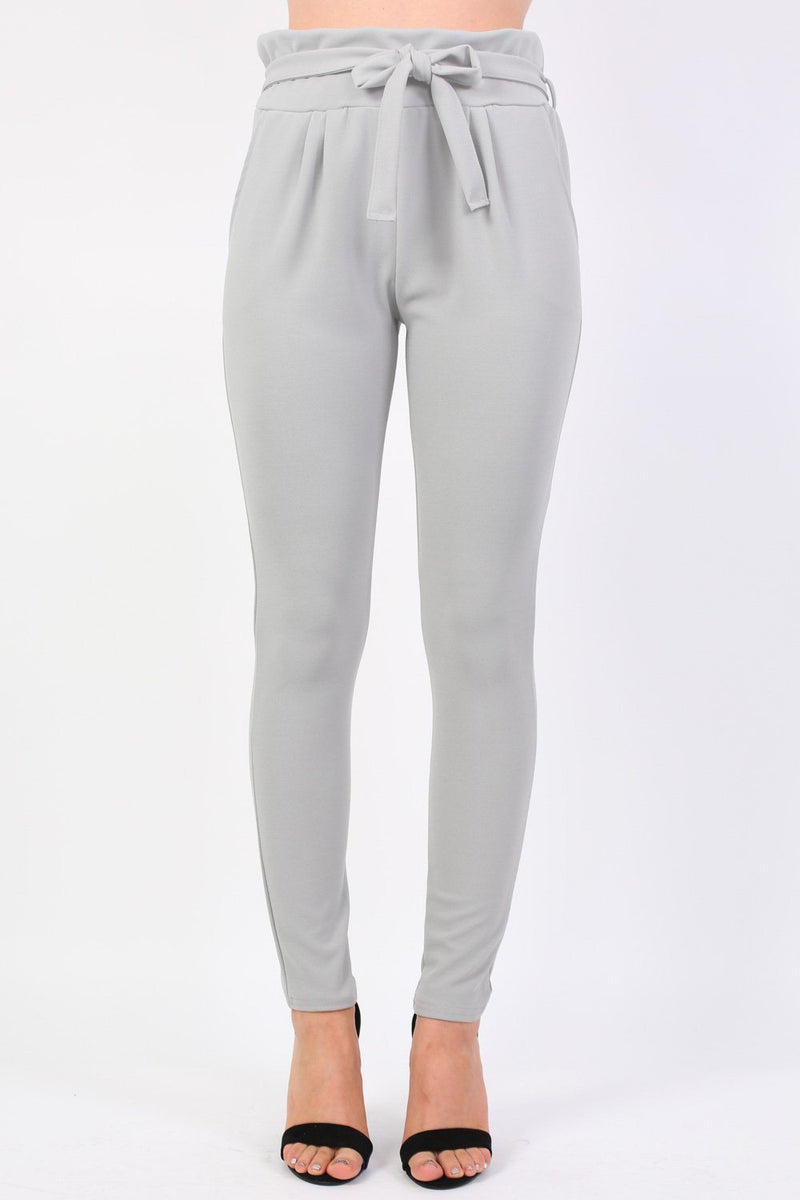 Tie Paper Bag Waist Trousers in Grey 0