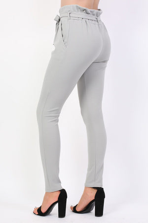 Tie Paper Bag Waist Trousers in Grey 1