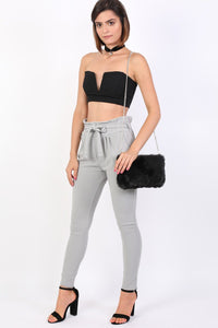 Tie Paper Bag Waist Trousers in Grey 3