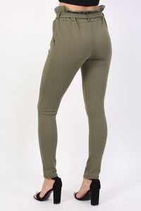 Tie Paper Bag Waist Trousers in Khaki Green 1
