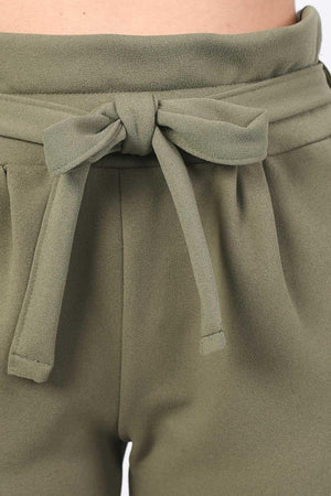 Tie Paper Bag Waist Trousers in Khaki Green 2