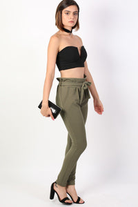 Tie Paper Bag Waist Trousers in Khaki Green 3