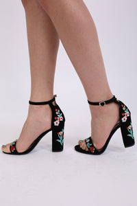 Floral Embroidered Block High Heel Sandals in Black 0