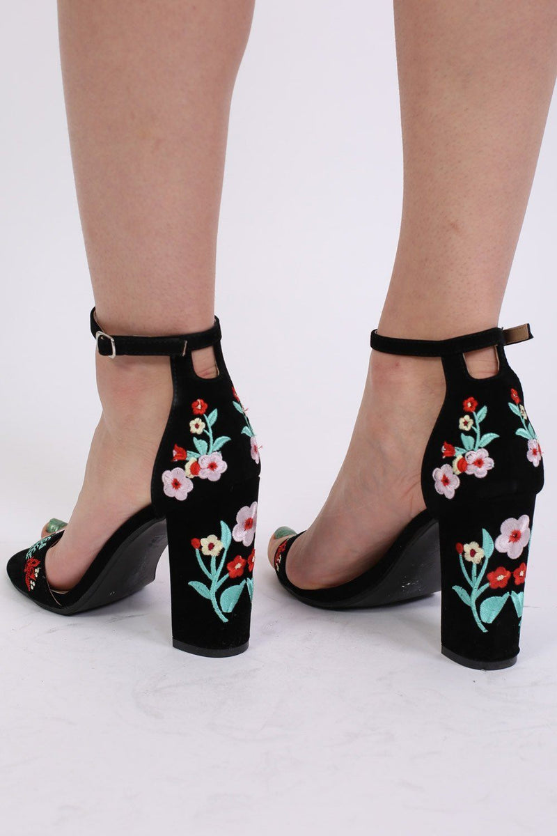 Floral Embroidered Block High Heel Sandals in Black 1