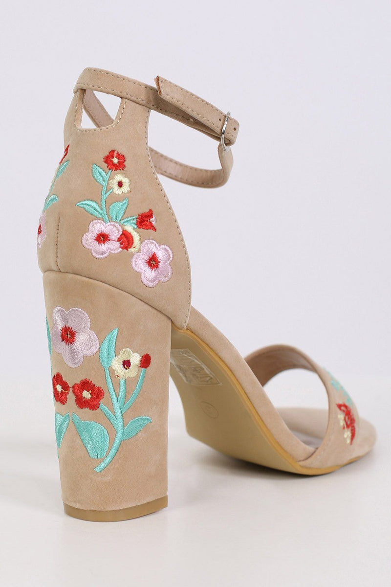 Floral Embroidered Block High Heel Sandals in Nude 5