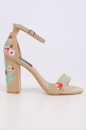 Floral Embroidered Block High Heel Sandals in Nude 4
