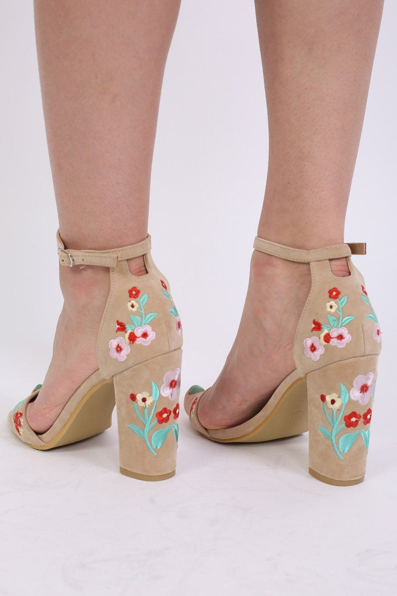 Floral Embroidered Block High Heel Sandals in Nude 1