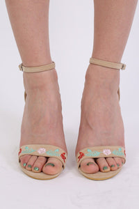 Floral Embroidered Block High Heel Sandals in Nude 2