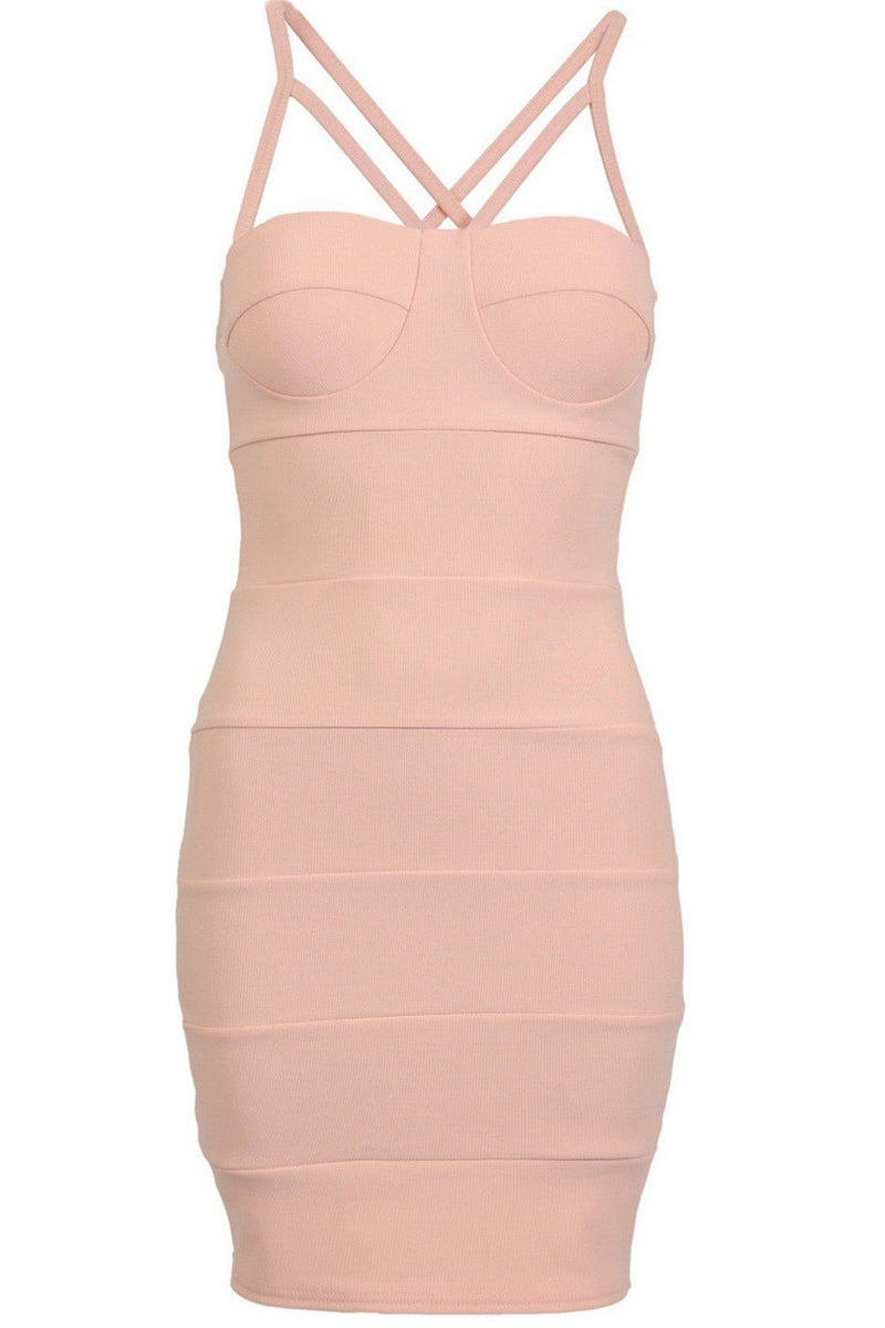 Strappy Ribbed Bandage Bodycon Mini Dress in Nude 4