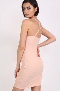 Strappy Ribbed Bandage Bodycon Mini Dress in Nude 2