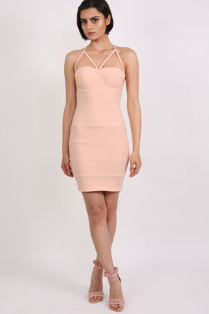 Strappy Ribbed Bandage Bodycon Mini Dress in Nude 3
