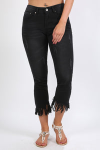 Fringed Hem Cropped Jeans in Black 0
