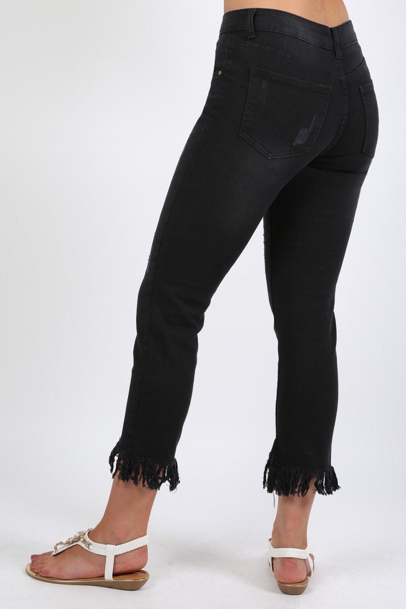 Fringed Hem Cropped Jeans in Black 1