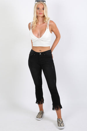 Fringed Hem Cropped Jeans in Black 2