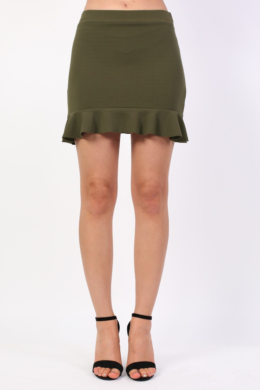 Plain Frill Hem Mini Skirt in Khaki Green 0