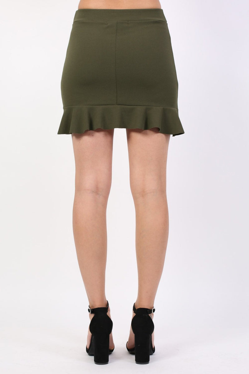 Plain Frill Hem Mini Skirt in Khaki Green 1