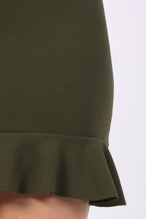 Plain Frill Hem Mini Skirt in Khaki Green 2