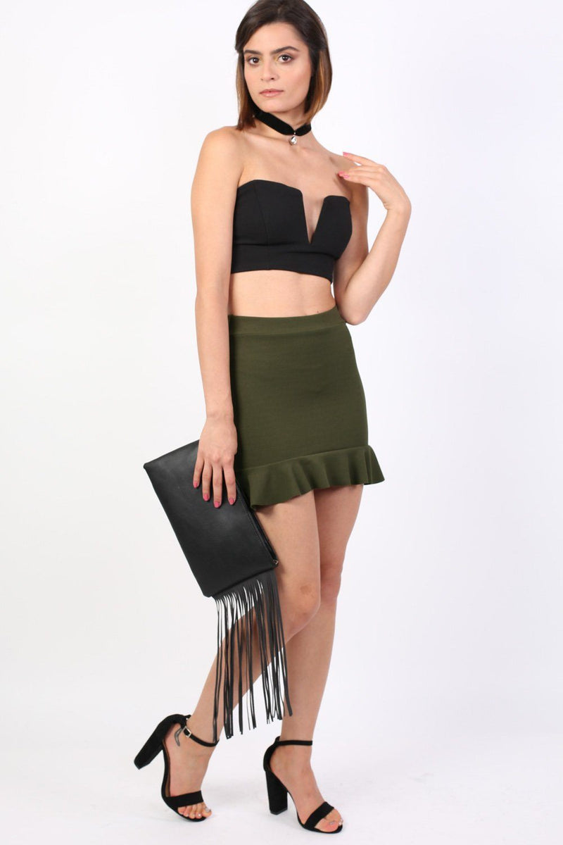Plain Frill Hem Mini Skirt in Khaki Green 3
