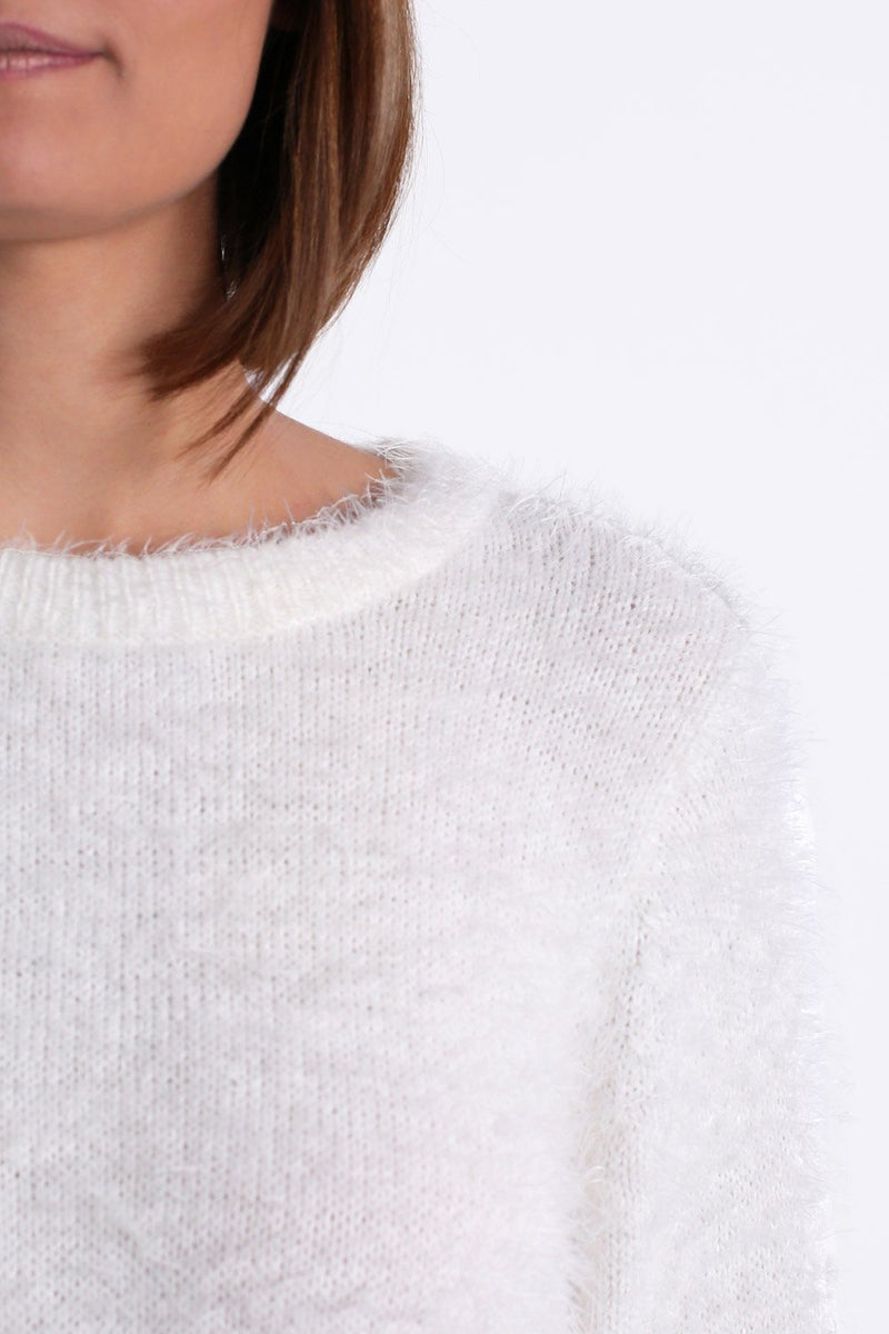 Fluffy Soft Touch Long Sleeve Knitted Jumper in Cream 2