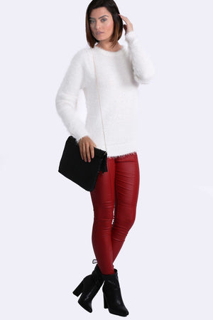 Fluffy Soft Touch Long Sleeve Knitted Jumper in Cream 3