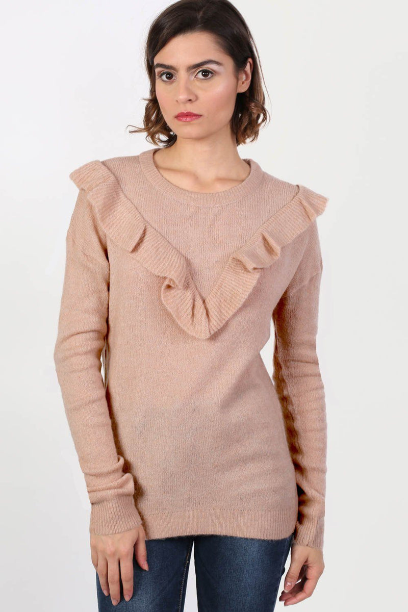 Frill Front Long Sleeve Jumper in Dusty Pink 0