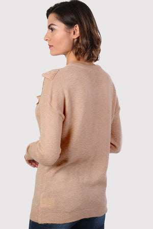 Frill Front Long Sleeve Jumper in Dusty Pink 1