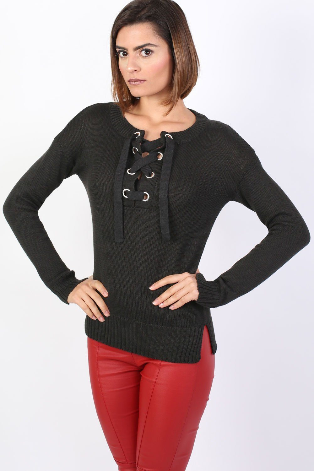 Lace Up Front Long Sleeve Plain Knit Jumper in Black 0