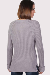 Lace Up Front Ribbed Jumper in Light Grey 1