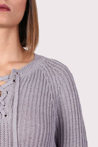 Lace Up Front Ribbed Jumper in Light Grey 2
