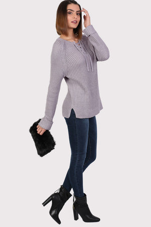 Lace Up Front Ribbed Jumper in Light Grey 3