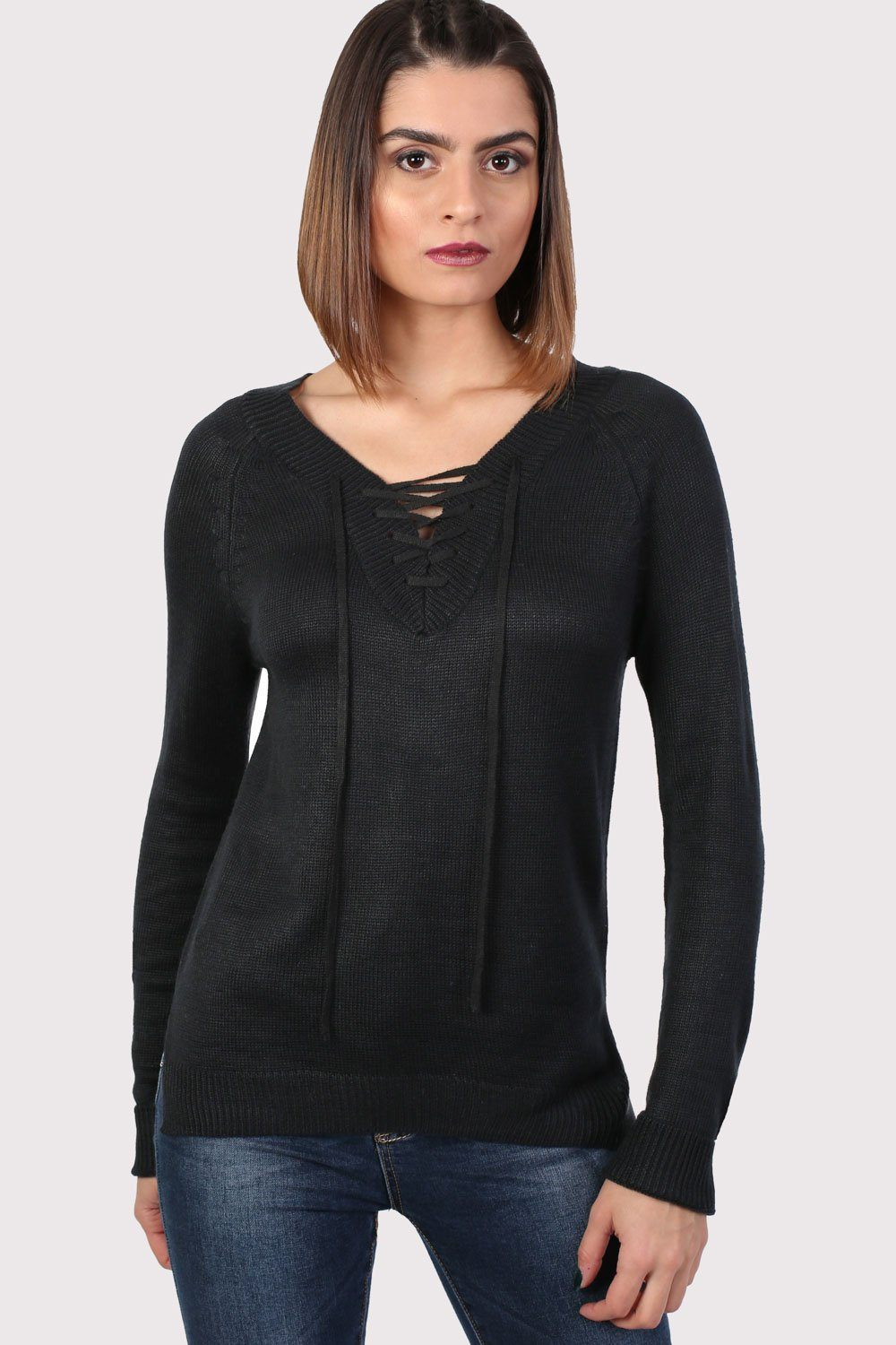 Fine Knit Lace Up Front V Neck Jumper in Black 0