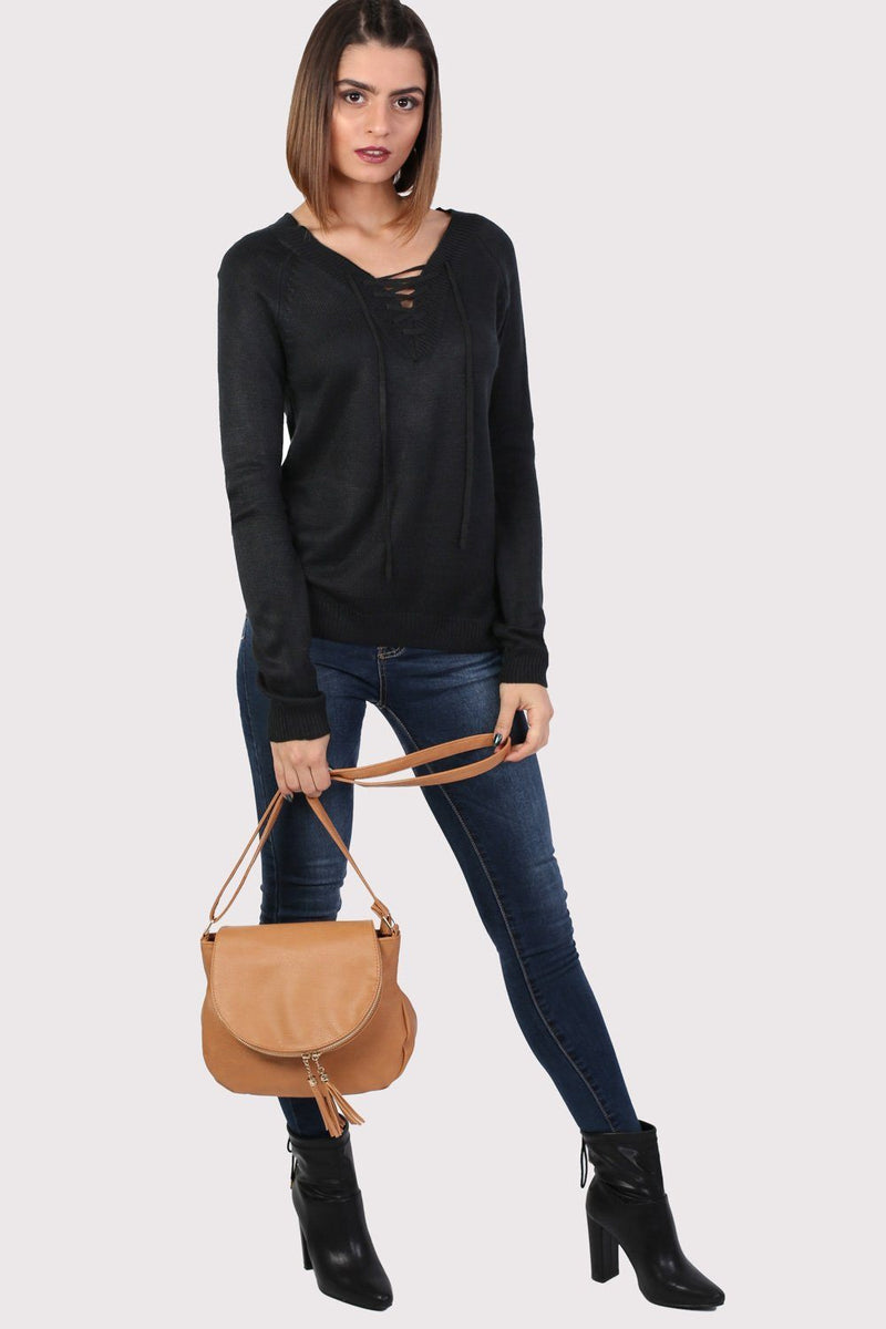 Fine Knit Lace Up Front V Neck Jumper in Black 3