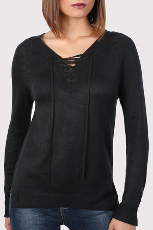 Fine Knit Lace Up Front V Neck Jumper in Black 4