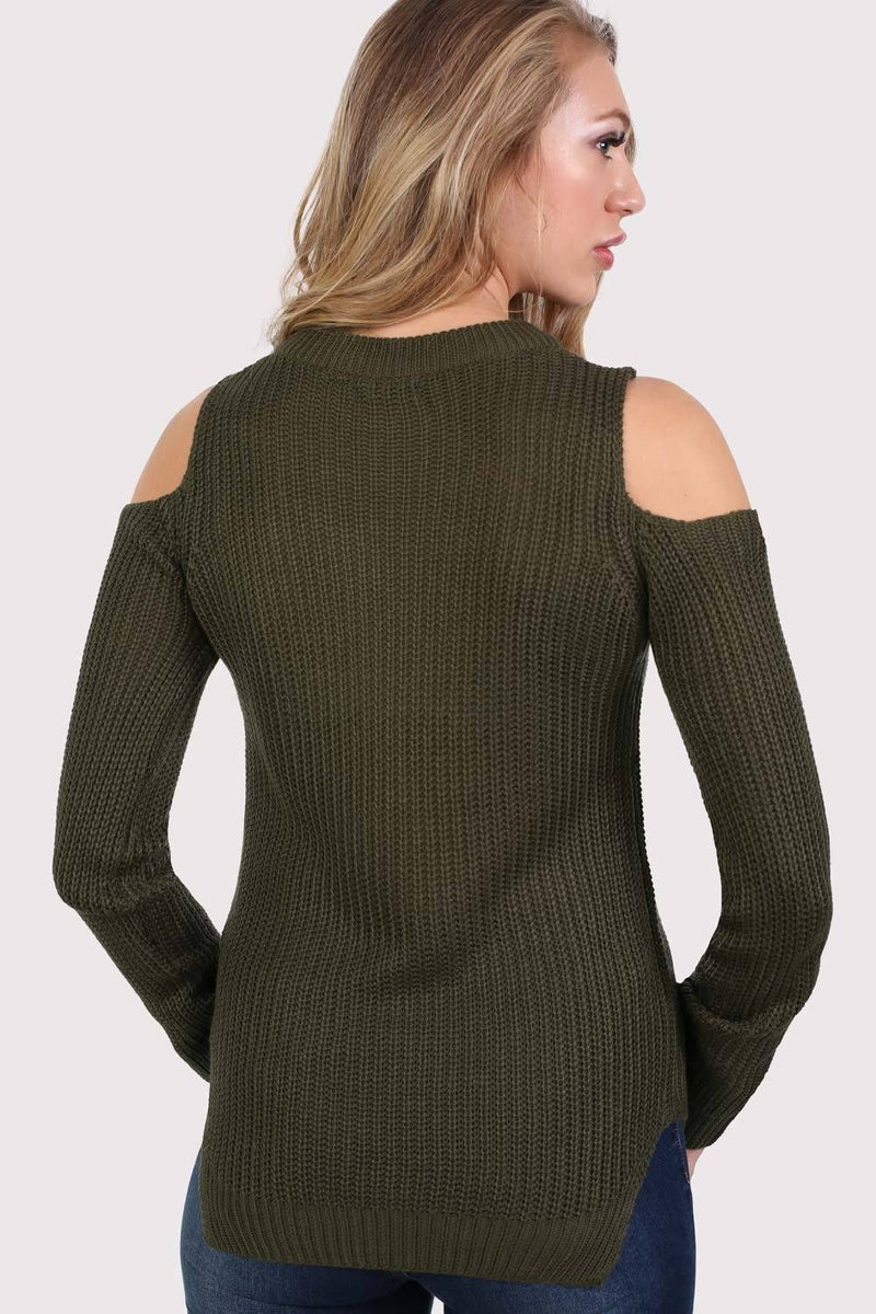 Ribbed Cold Shoulder Jumper in Khaki Green 1