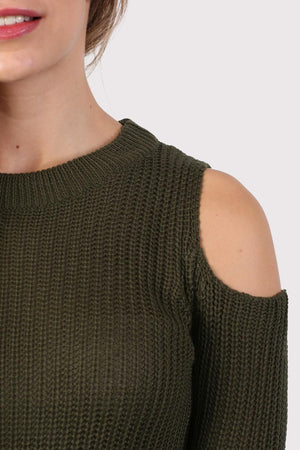 Ribbed Cold Shoulder Jumper in Khaki Green 2