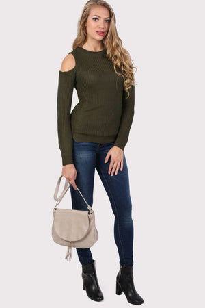 Ribbed Cold Shoulder Jumper in Khaki Green 3