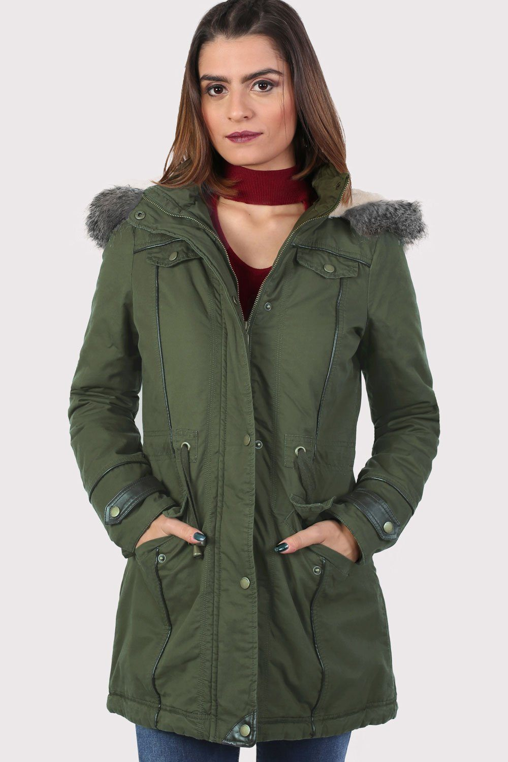 PU Trim Faux Fur Trim Hood Parka Coat in Khaki Green 0
