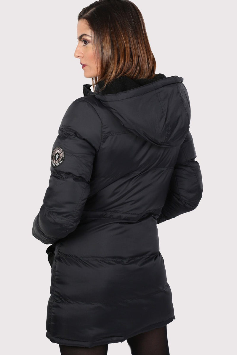 Long Line Padded Puffer Coat With Hood in Black 1