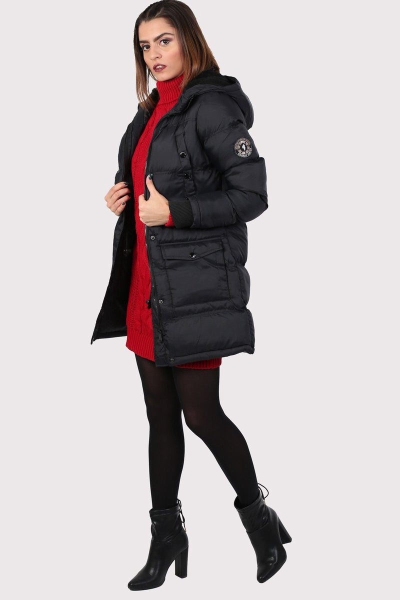 Long Line Padded Puffer Coat With Hood in Black 3