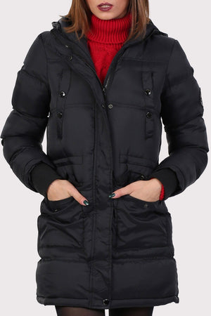 Long Line Padded Puffer Coat With Hood in Black 4