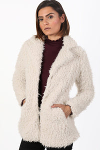 Shaggy Soft Touch Faux Fur Long Sleeve Jacket in Cream 0