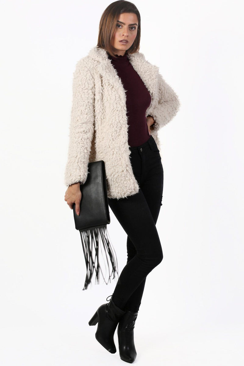 Shaggy Soft Touch Faux Fur Long Sleeve Jacket in Cream 3