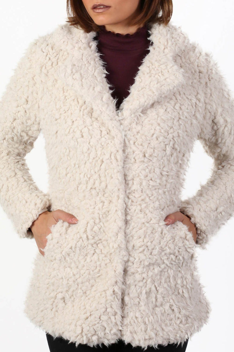 Shaggy Soft Touch Faux Fur Long Sleeve Jacket in Cream 4